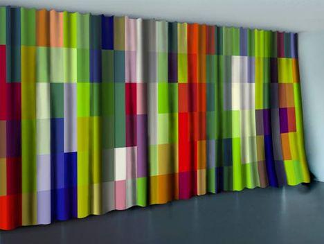 color patchwork curtain idea