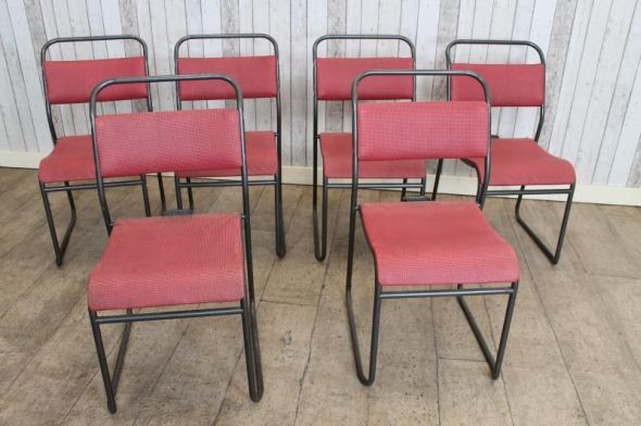 VINTAGE BAKELITE CHAIRS STACKING DINING CHAIRS BURGUNDY STACKABLE CAFE CHAIRS