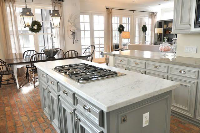 20 Kitchen Designs With Brick Flooring Brick flooring Gray