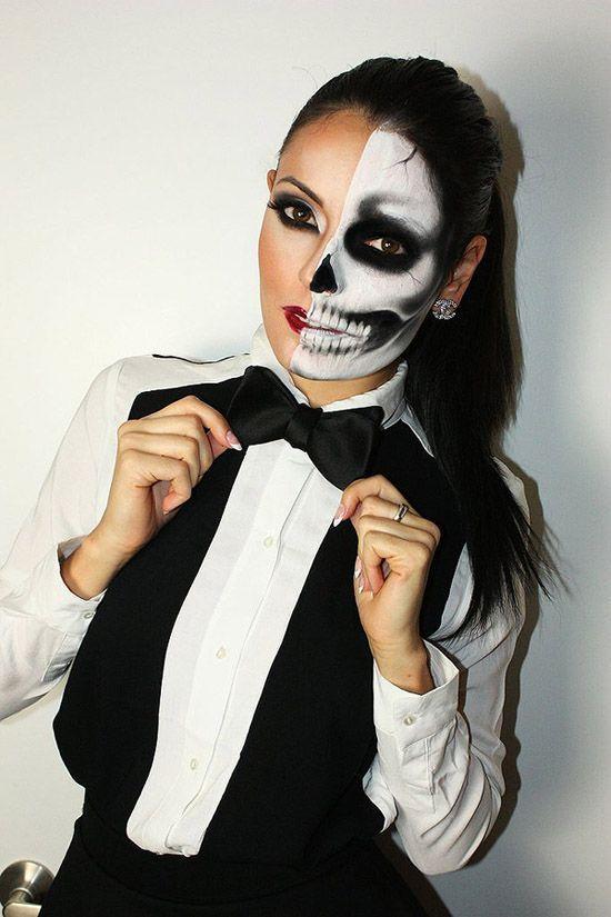 half skull girl costume idea from 10 more incredible halloween makeup transformations my modern met - Halloween Skeleton Makeup Ideas