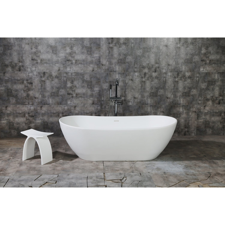 Serena 72 Inch Solid Surface White Stone Freestanding Bathtub
