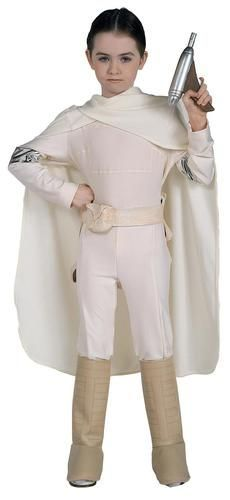 This Queen of Naboo costume includes cream colored jumpsuit with silver accents…
