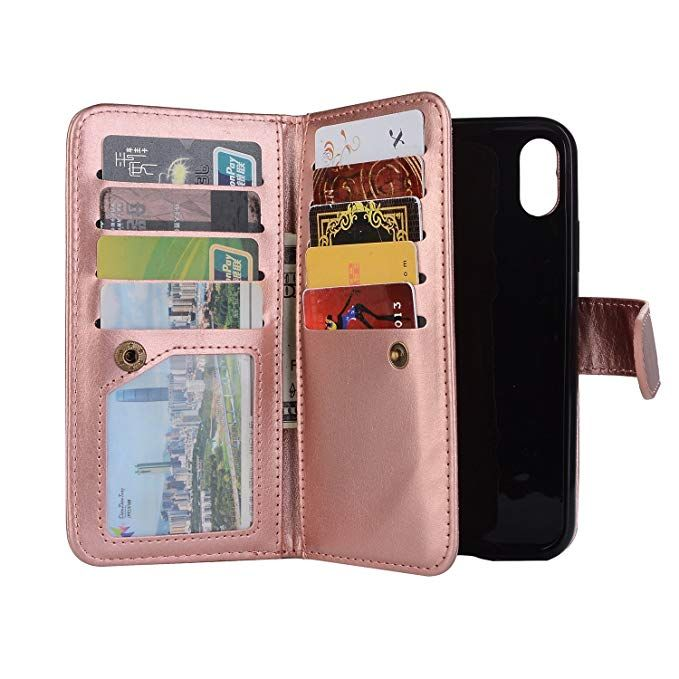 new styles d7d0d a82e0 Amazon.com: Leather Wallet Case for iPhone Xs Case,iPhone X Case ...