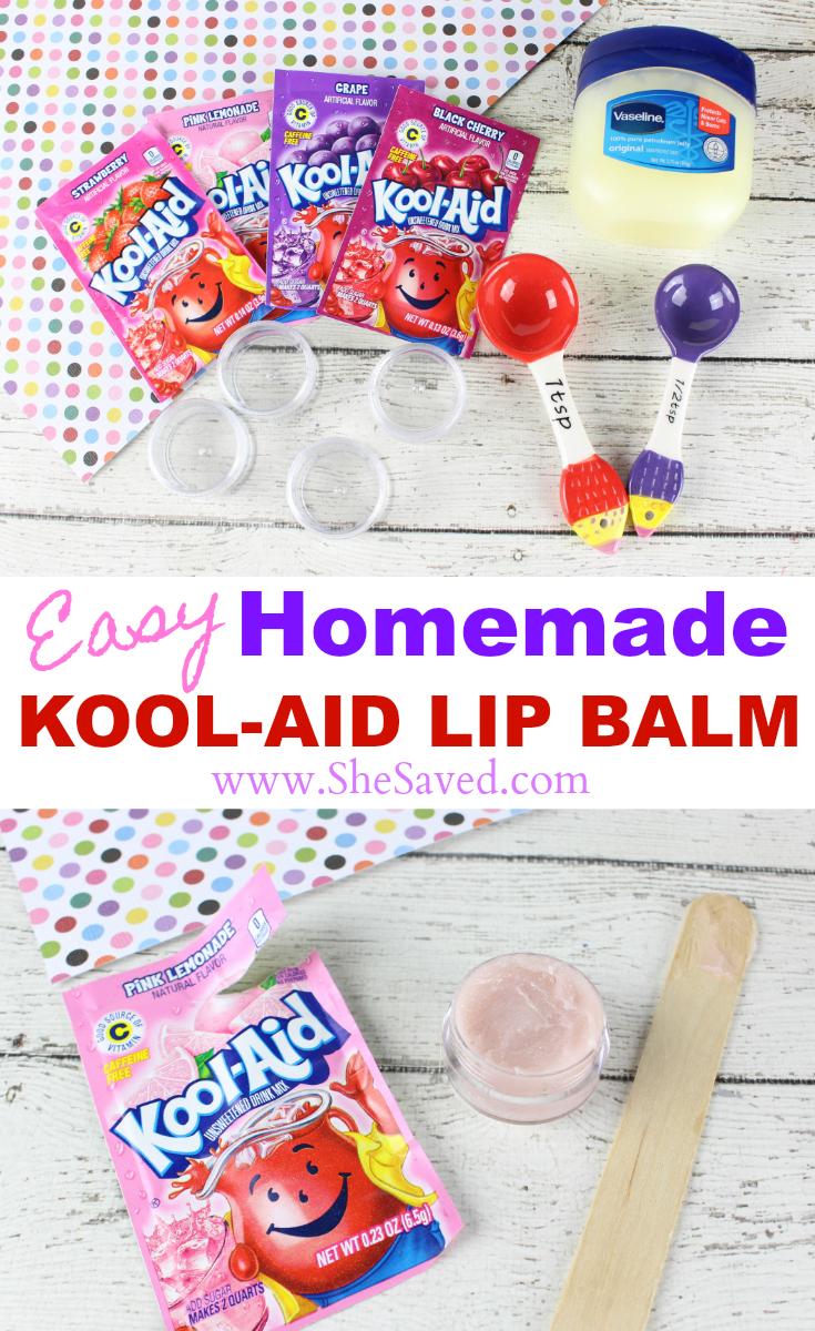 Easy Homemade Kool Aid Lip Balm Kool Aid Kids Lip Balm Birthday Party Crafts