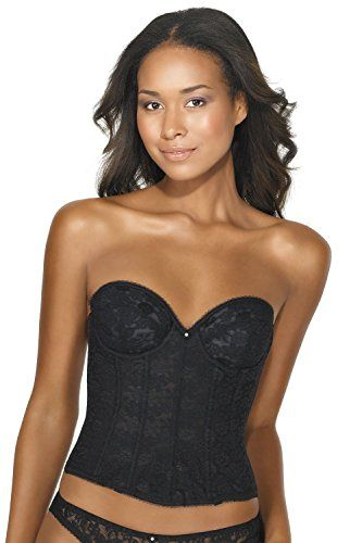 98e57e3dfb5 Dominique Lace Low Back Plunge Strapless Bustier Style 7749 Black 36D      Read more reviews of the product by visiting the link on the image.