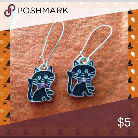 Black Cat Earrings Black enamel cat charms hang from stainless steel ear wires. Jewelry Earrings