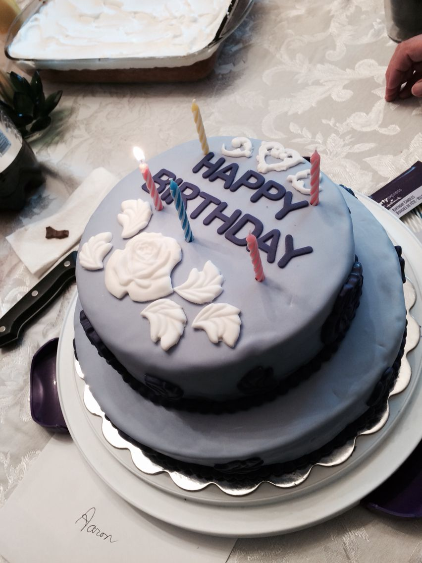 Two layer lilac fondant birthday cake. http//skyblucakes