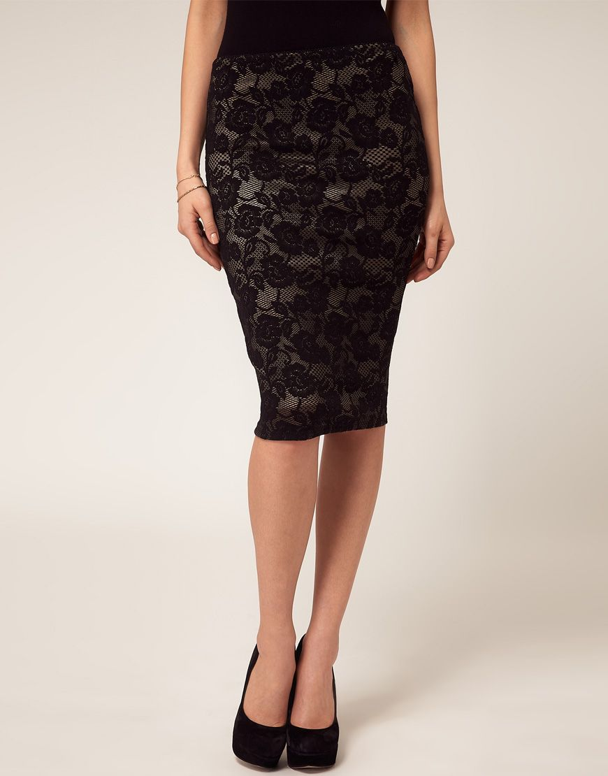 Pencil Skirt with Lace