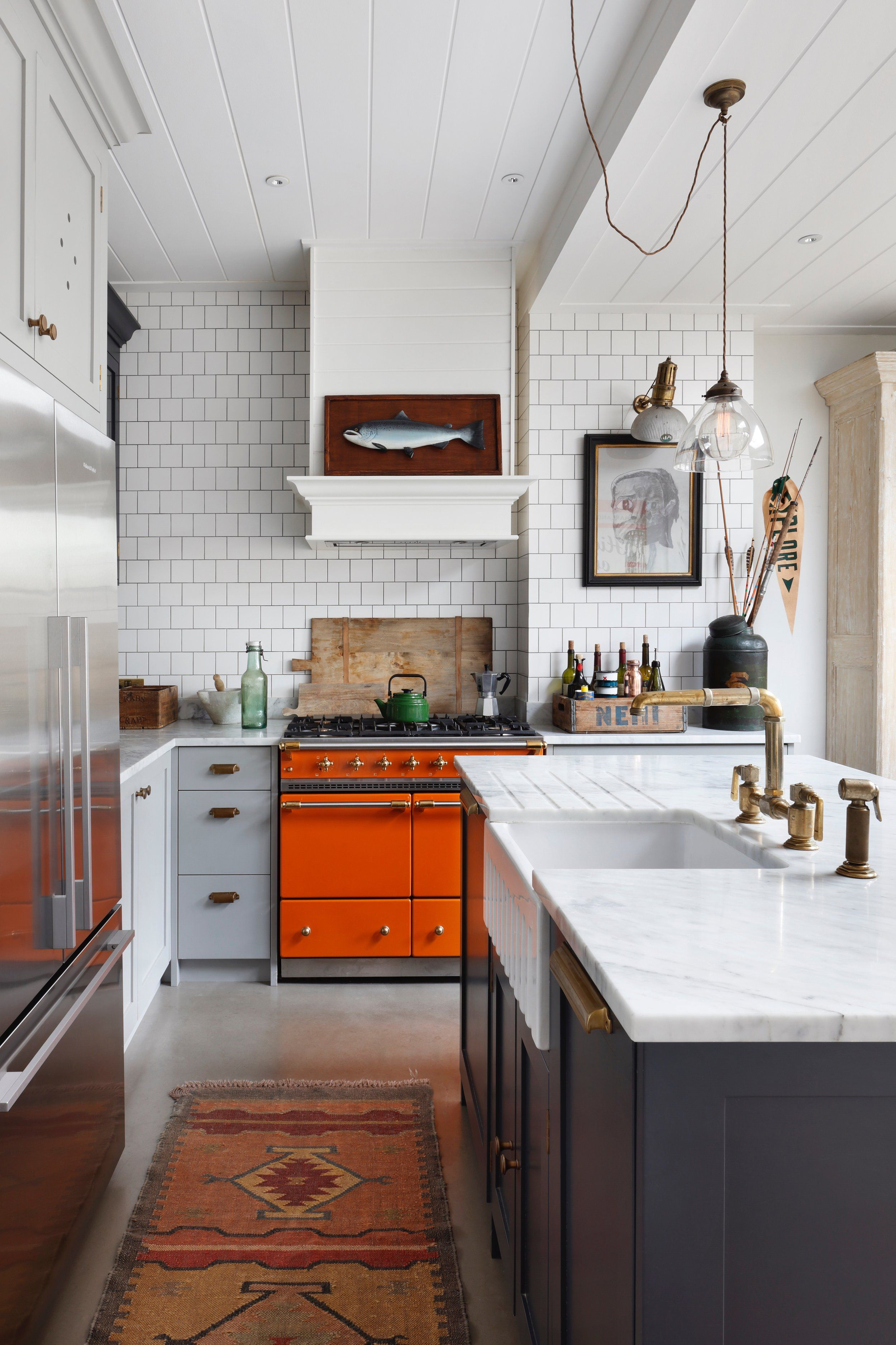 Eclectic Modern Kitchen With Orange Range Kitchen Renovation