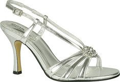 An elegant 3 1/4  strappy open toe evening sandal with leather sole, comfort padded insole, dazzling jewel detail on vamp, and buckle closure.