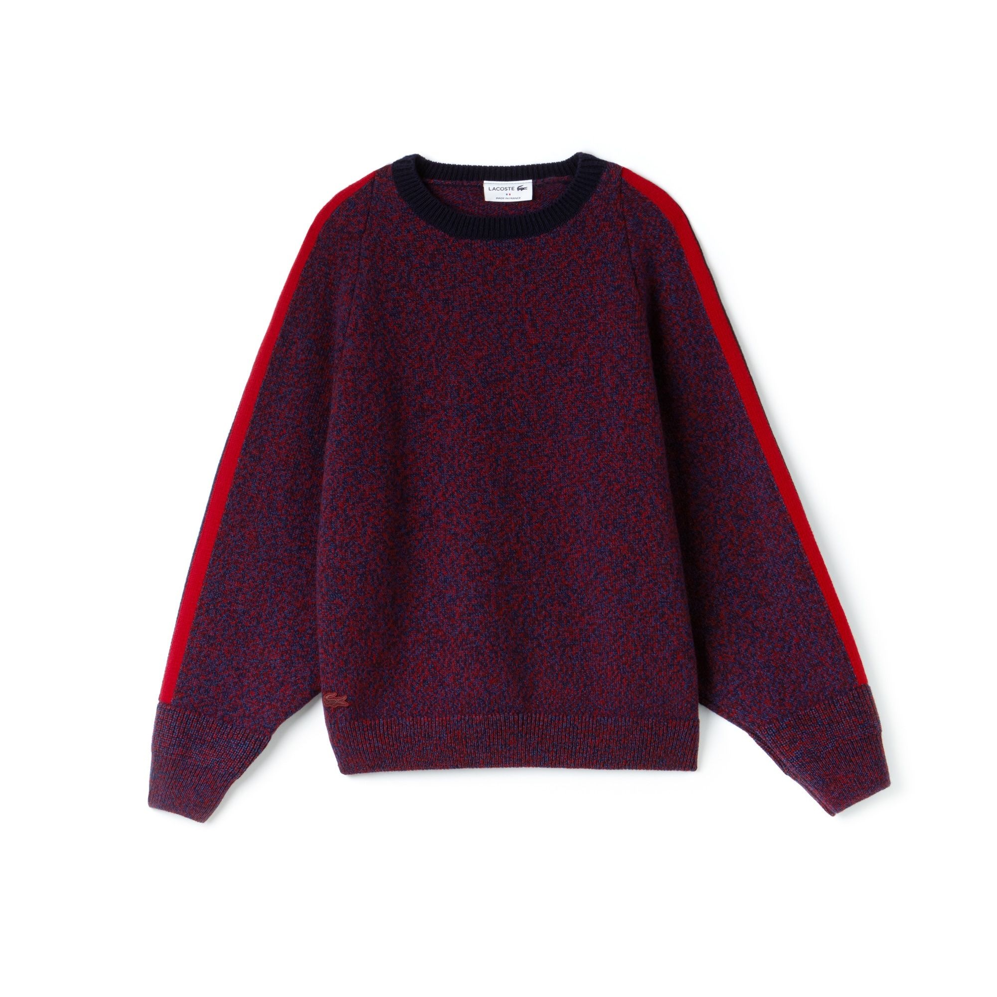 Women's In Contrast Band Wool France Made SweaterLacoste Jersey WH29DEYI