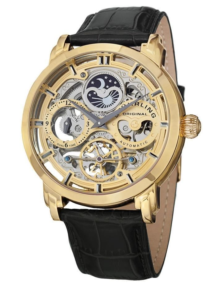 334ced95966cd Stuhrling 371 02 Automatic Skeleton Dual Time Am Pm Indicator Leather Mens  Watch