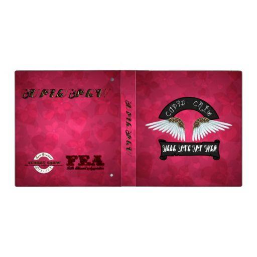 Cupid Crew Make Love Not War Angel Wings 3 Ring Binders