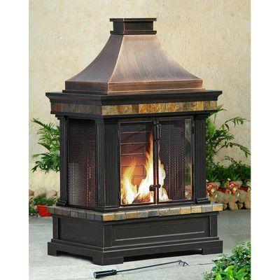 Sunjoy Brownston Steel Wood Outdoor Fireplace Reviews Wayfair