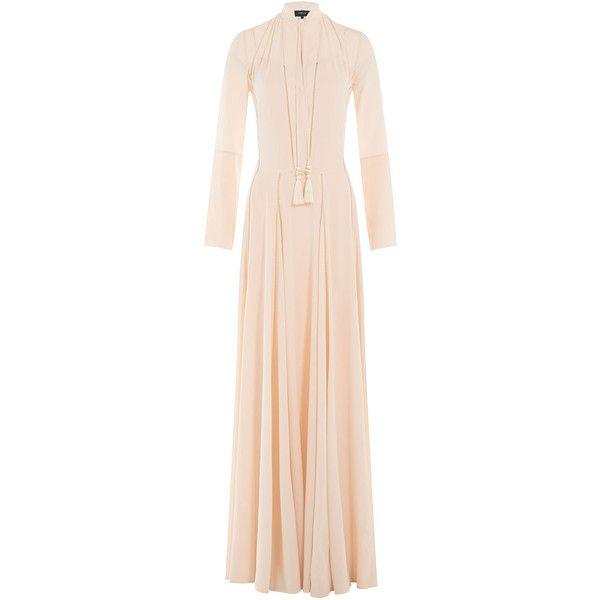 Derek Lam Floor Length Silk Gown ($2,295) ❤ liked on Polyvore featuring dresses, gowns, beige, silk evening gowns, pink silk dress, silk gown, cut out dress and pink evening dress