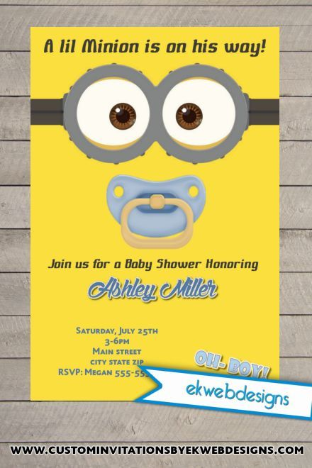 Custom Minion Baby Shower Invite Baby Shower Invitations - baby shower invitations download