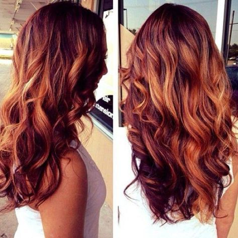 Scattered ombré using red, brown and blonde with loose open curls ...