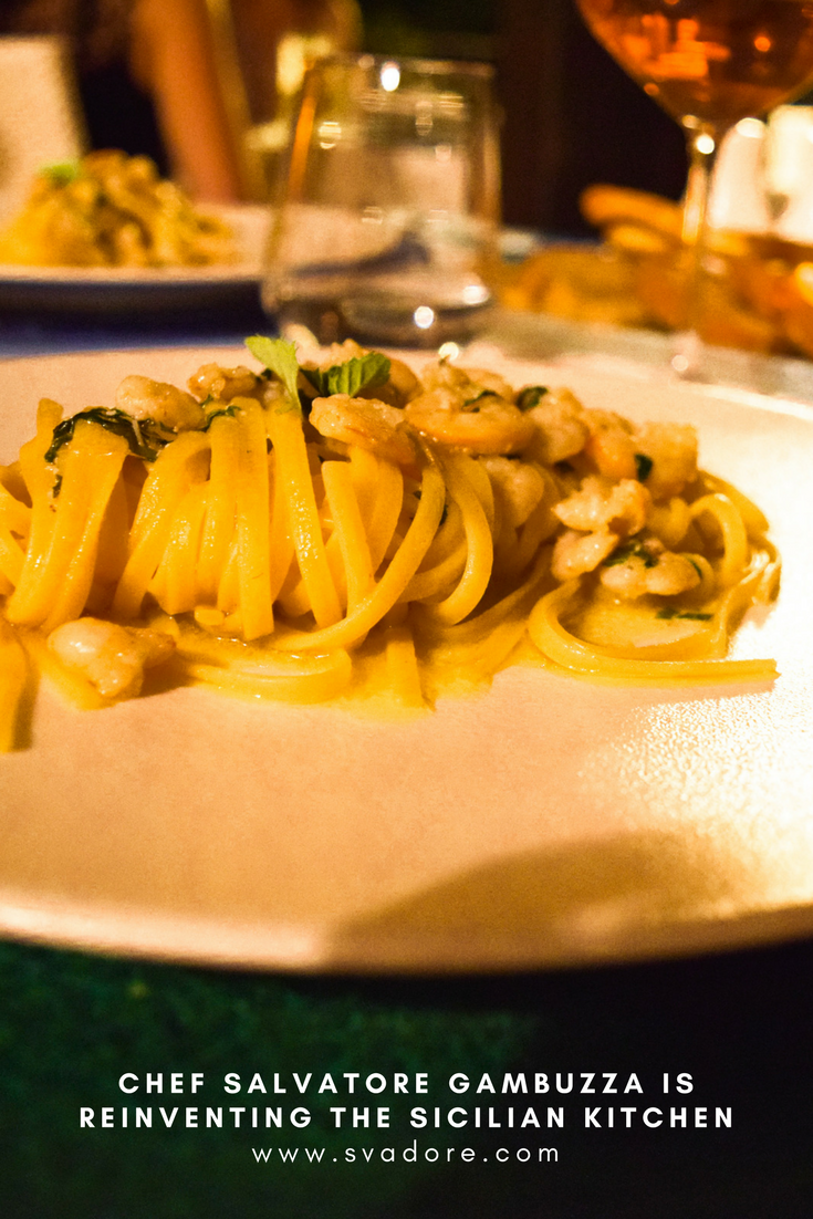 Entree Homemade Tagliatelle With Lemon Baby Shrimp At Hotel Villa Athena In His Hometown Of Agrigento Sicily Italy Chef Salvatore Gambuzza Has Earned The