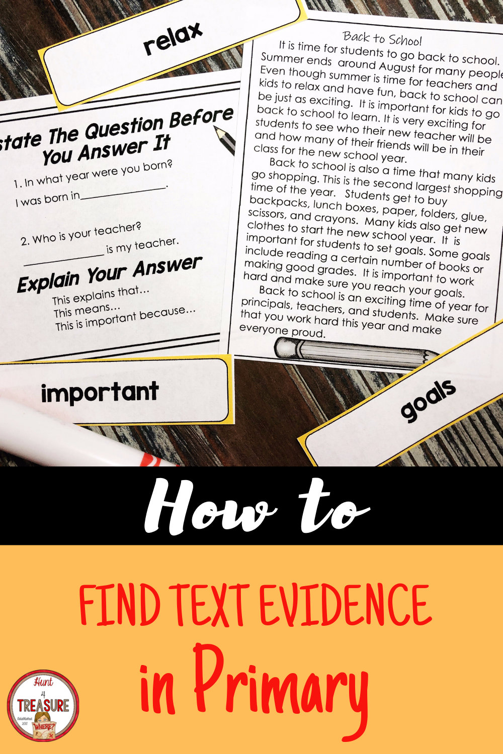 Back To School Finding Text Evidence Text Evidence Text Evidence Activities Reading Passages [ 1500 x 1000 Pixel ]