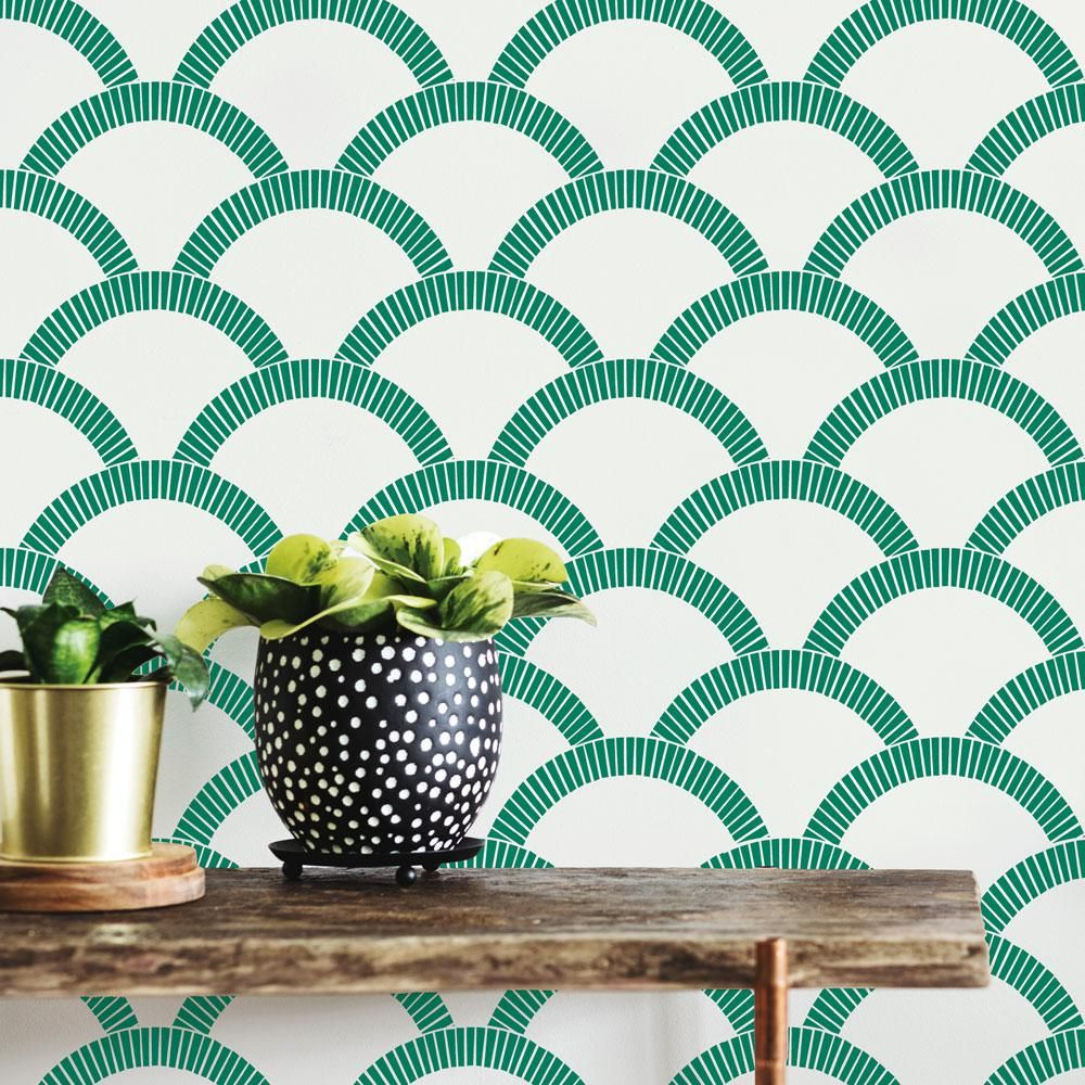 Tempaper Mosaic Scallop Vinyl Peelable Roll Covers 56 Sq Ft Ms578 The Home Depot Removable Wallpaper Peel And Stick Wallpaper Mosaic