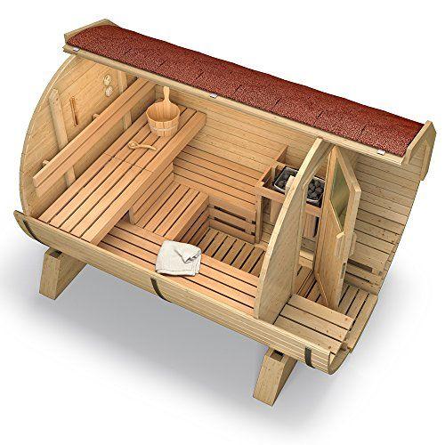 Isidor wooden barrel sauna deluxe outdoor garden keg vat for Build your own barrel sauna