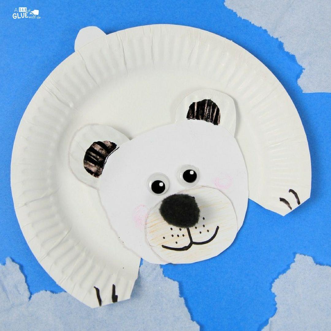 Polar Bear Paper Plate Craft Bear crafts, Arctic animals