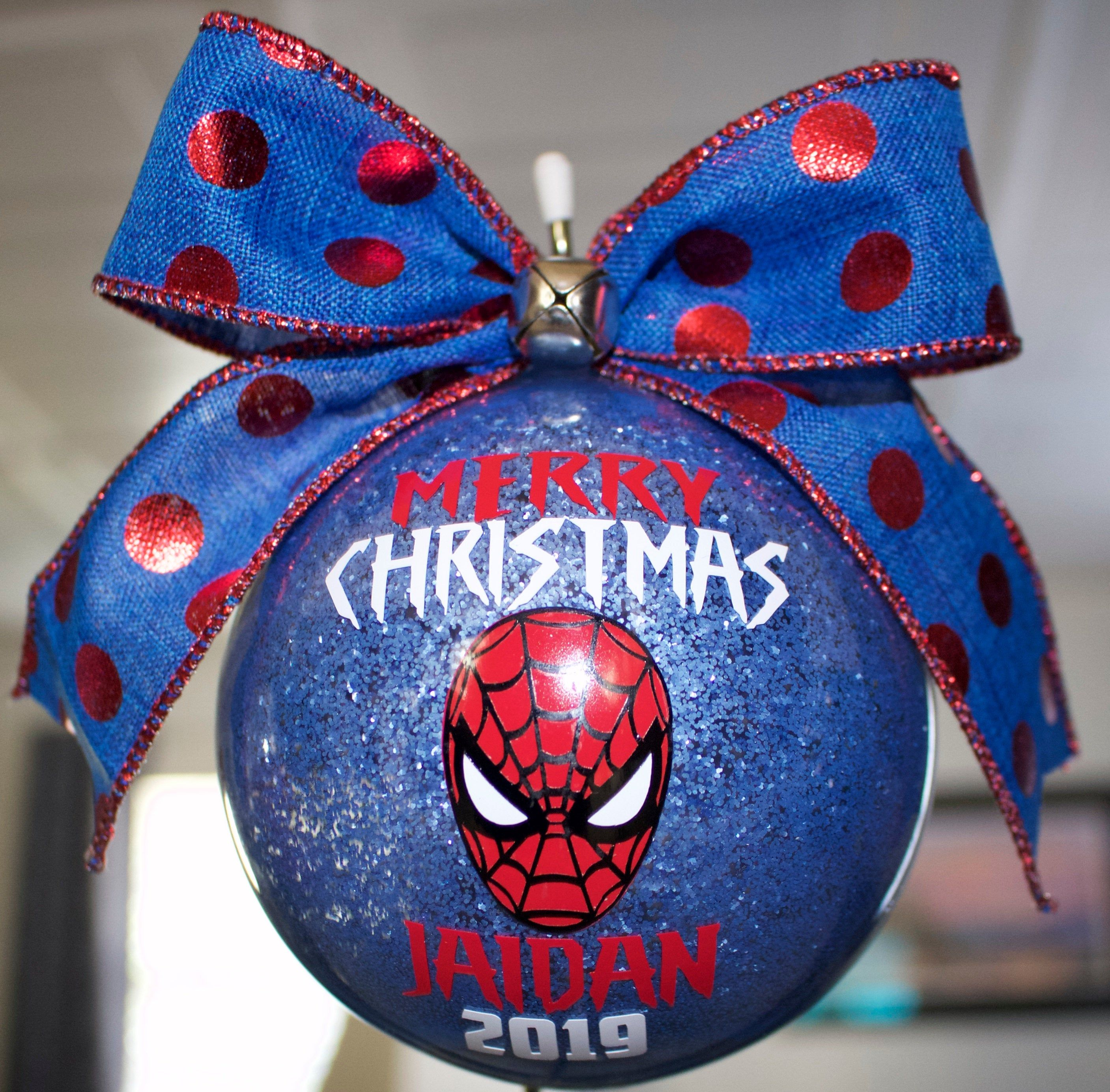 Boys Custom Ornament Personalized Spiderman Ornament Superhero Ornament Large 4 First Christmas Ornament Superhero Christmas Baby First Christmas Ornament
