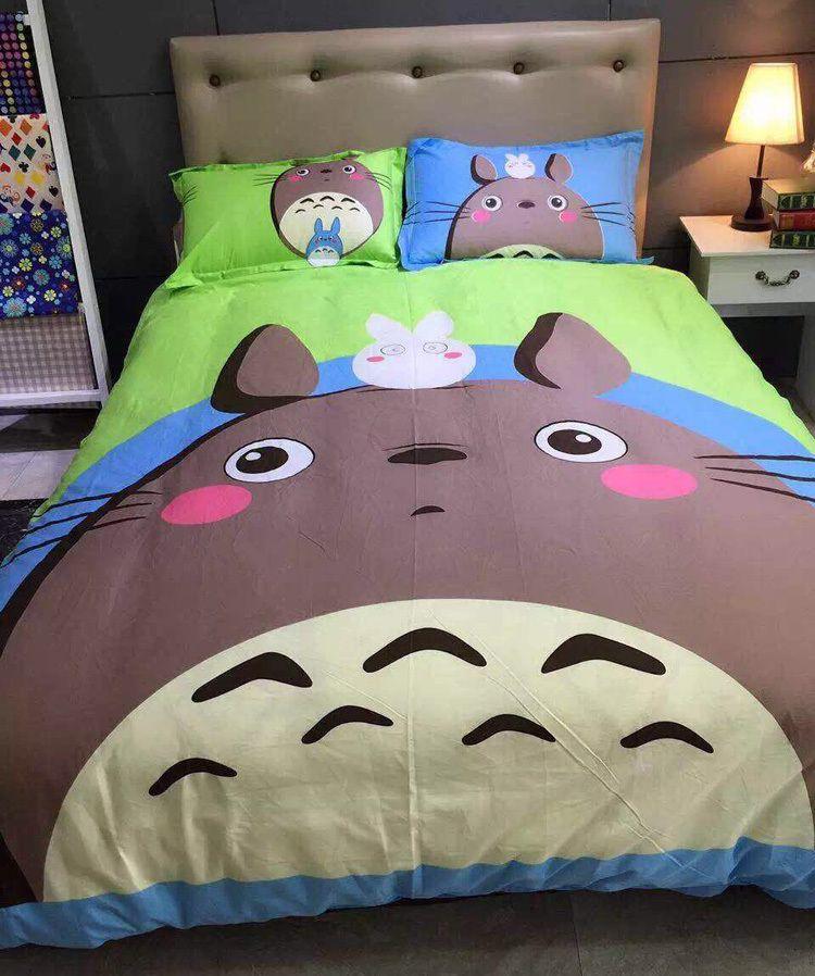 Cheap nuevos ni os totoro juego de cama 100 algod n de for Ropa cama matrimonio