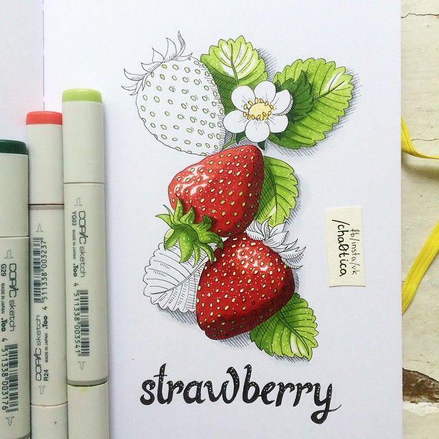 Strawberry . Я, кстати, теперь записываю кусочки процесса, а в четверг выложу видео той картинки, которая набрала больше всего лайков ;) #illustration #art #art_markers #art_we_inspire #leuchtturm1917 #sketch #sketchbook #copic #copics #copicmarkers #strawberry #botanical #sketch_daily #drawing #draweveryday #vsco #vscodraw #vscogood #topcreator #иллюстрация #рисую #рисуюкаждыйдень #рисунок #клубника #sweet #копики #маркеры #скетч #скетчбук #markers