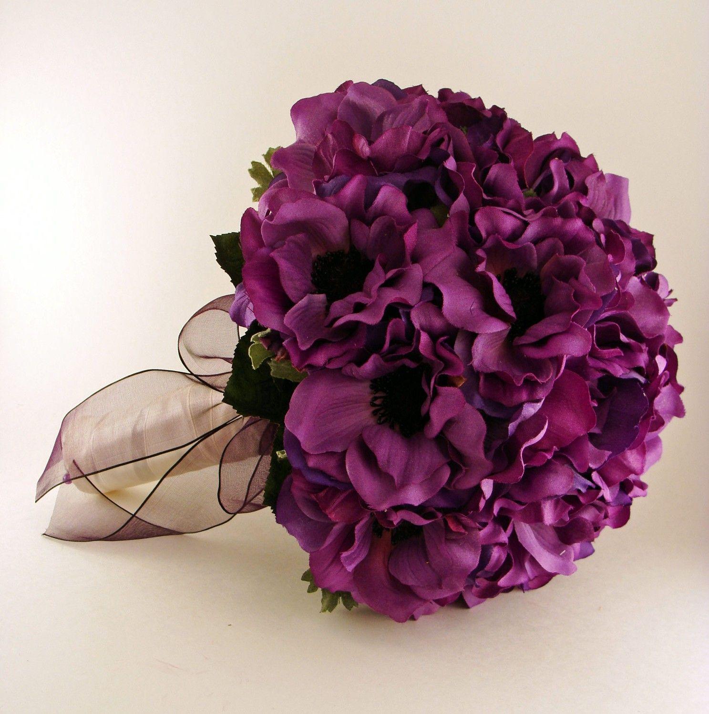 Silk Flower Bridal Bouquet Purple Anemones Black Centers 12000