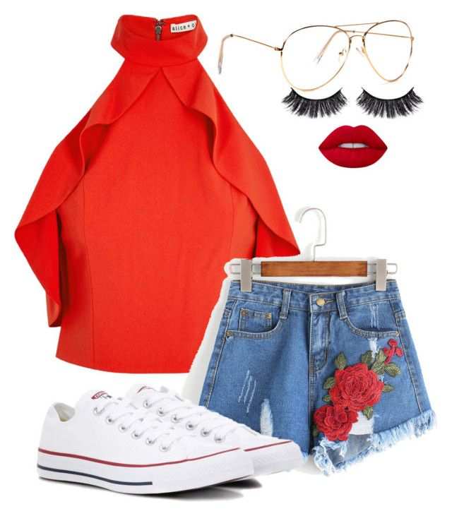"""Untitled #2264"" by mfr-mtz ❤ liked on Polyvore featuring Alice + Olivia, Converse, Battington and Lime Crime"
