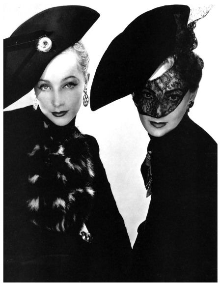 Models, Muth (left) and Lyla Zelensky (right), wearing bicornes by Schiaparelli, unpublished image for French Vogue, Paris, October 1938. Photo Erwin Blumenfeld