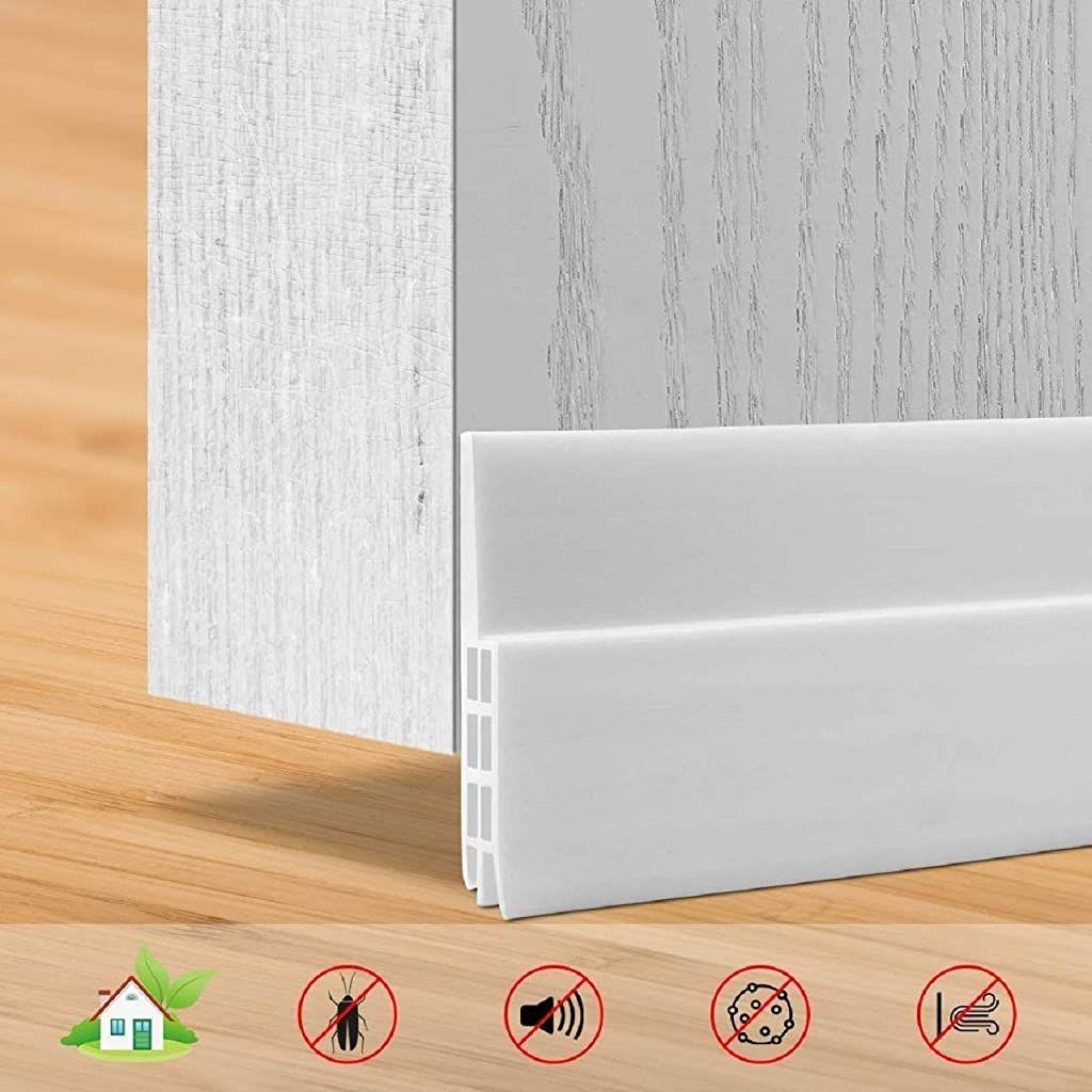SXYHKJ Bas de Porte Anti Bruit Bande dEtanch/éit/é en Silicone 5x100cm Adh/ésif Imperm/éable /à lEau Isolement du Bruit Triple Limite du Passage dAir Anti insecte Blanc