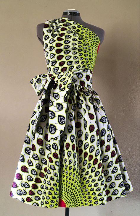 Dashki Fabric African Fashion Ankara Kitenge African: Make A Statement African Wax Print One Shoulder Dress 100