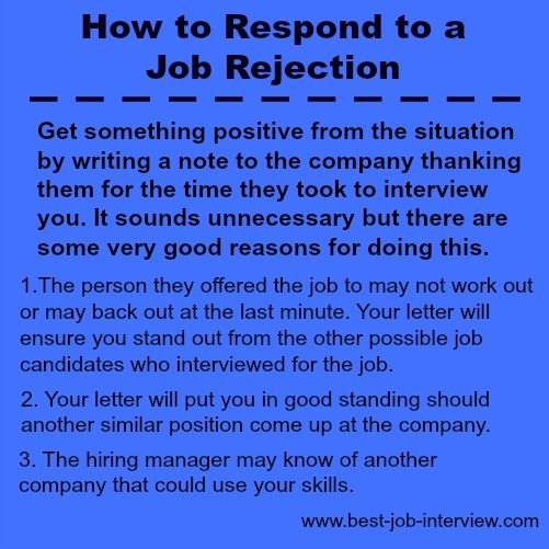 How to respond to job rejection during your job search.