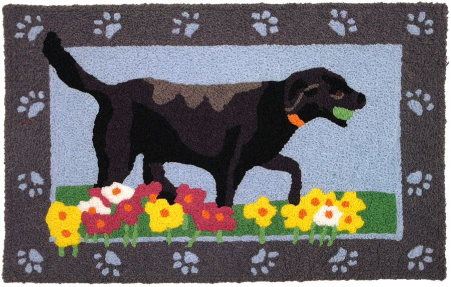 A Colorful Machine Washable Rug Featuring A Black Lab