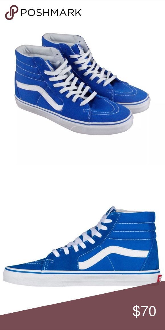 f71a713e77cf4 Vans sk8 hi top imperial blue sneaker shoes new New with tags Vans Sk8 hi  suede canvas imperial blue Men size 7.5 Woman size 9 Canvas and suede upper  White ...