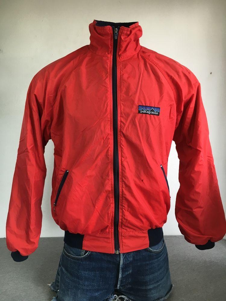 840fac1edb42f 80's PATAGONIA Nylon Fleece Jacket Vintage RARE! Big Tag Logo RED Large # Patagonia #FleeceJacket