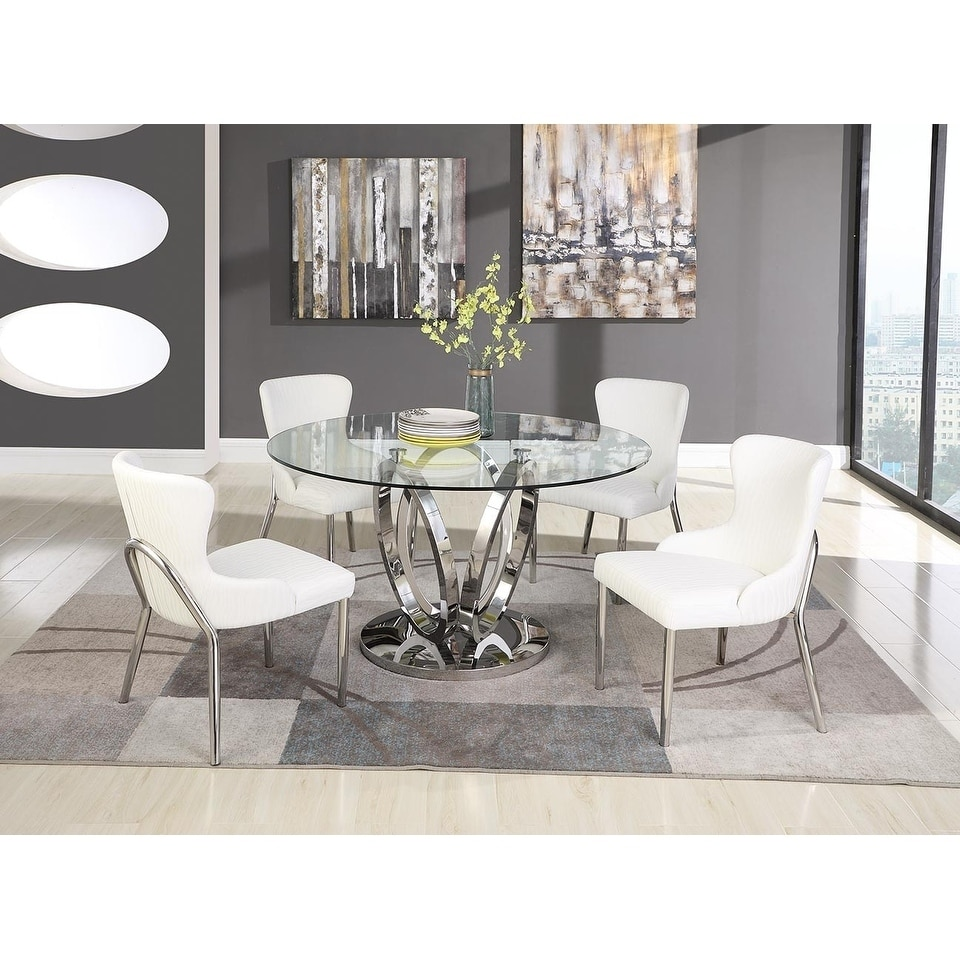 9 Piece Glass Top Round Dining Set Kitchen Living Room Dining ...