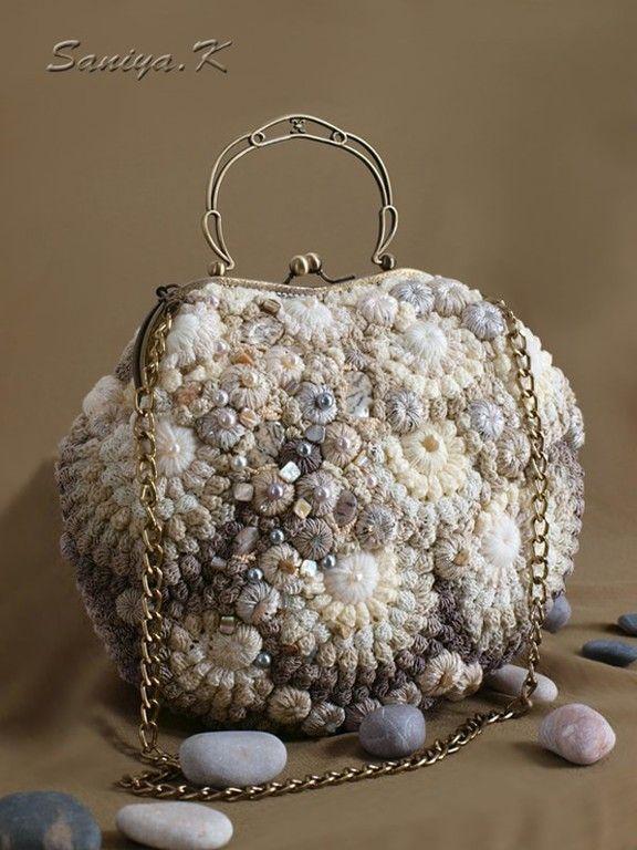"""Купить Сумка вязаная """"Regina"""" женская жемчуг - сумка, сумка вязаная, сумка жемчуг"""