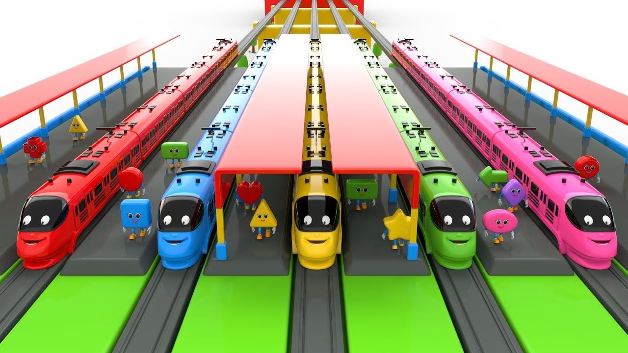 Coloring Toy Trains And Fun Play With Shapes Toy Train Lego Train Station Toys