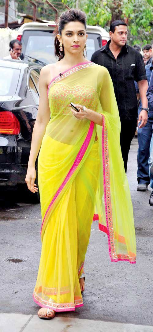Buy Yellow Shaded Sari With Embellished Blouse By Arpita Mehta Online Looksgud In Indian Outfits Deepika Padukone Style Saree Designs