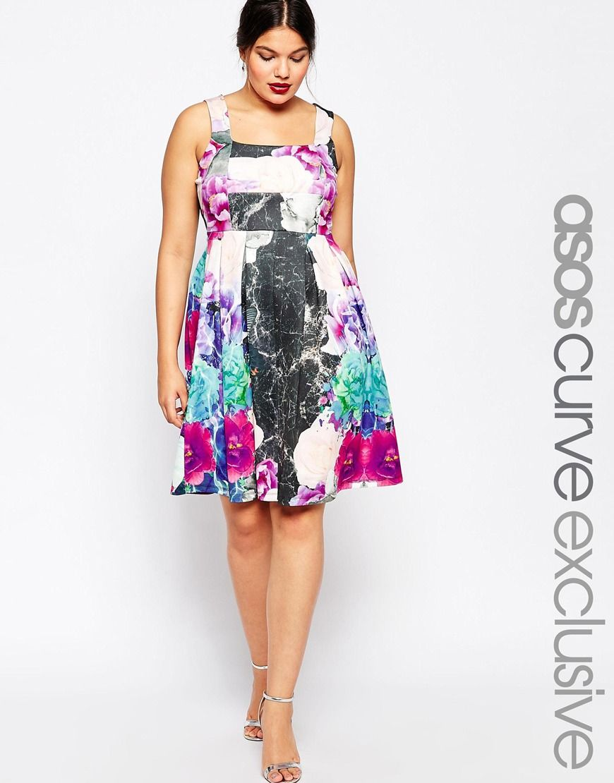 Asos curve debutante dress in mixed floral print fashion