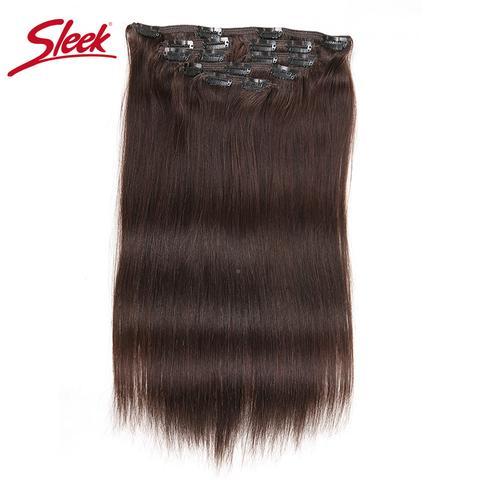 Sleek Colorful Hair 7Pcs Clip in Human Hair Extensions 2# Brazilian Striaght Human Hair Full Head Sets Remy Hair Extension Clip #humanhairextensions
