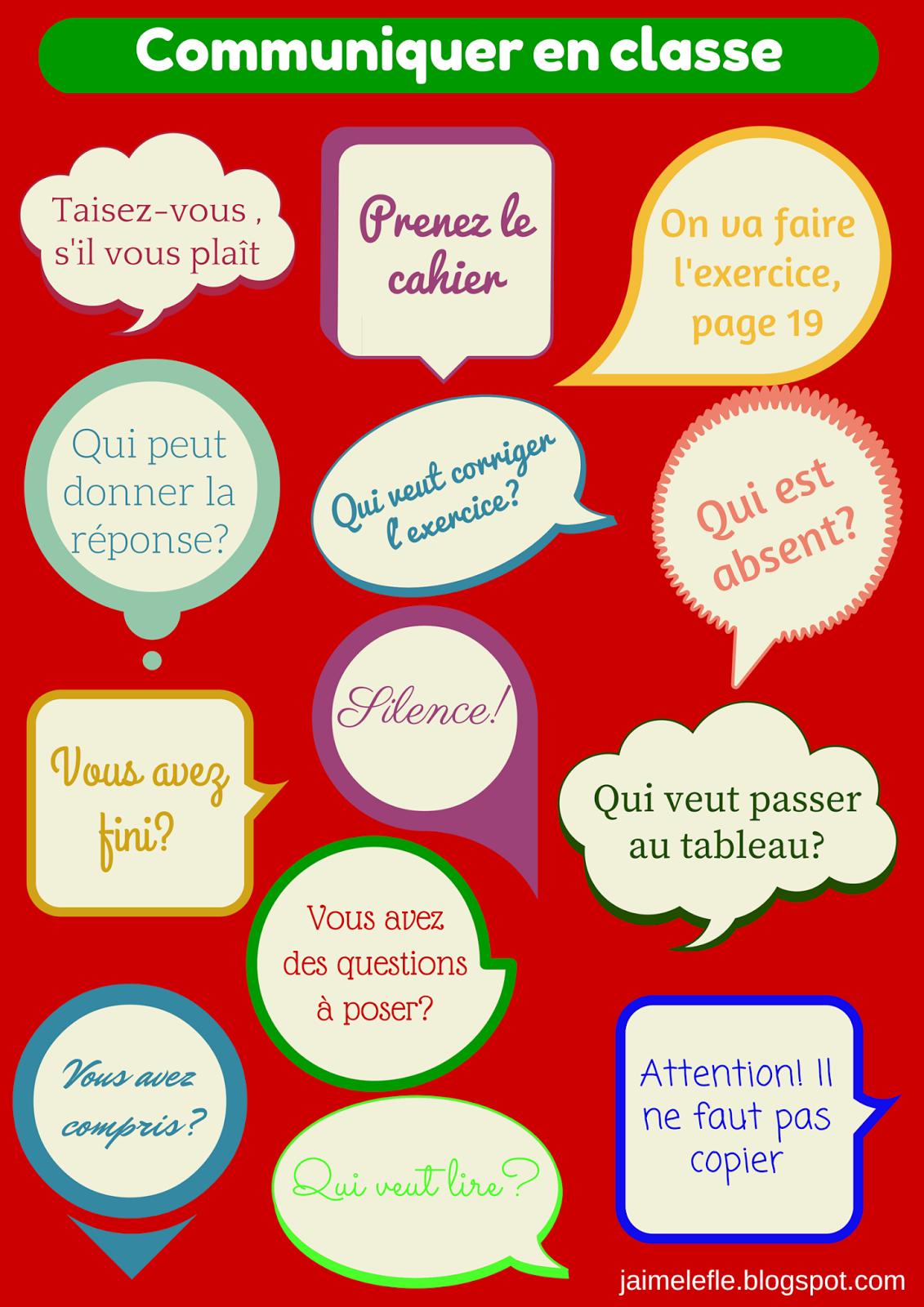 Connu Phrases pour communiquer en classe en français | FLE - Actes de  AK76
