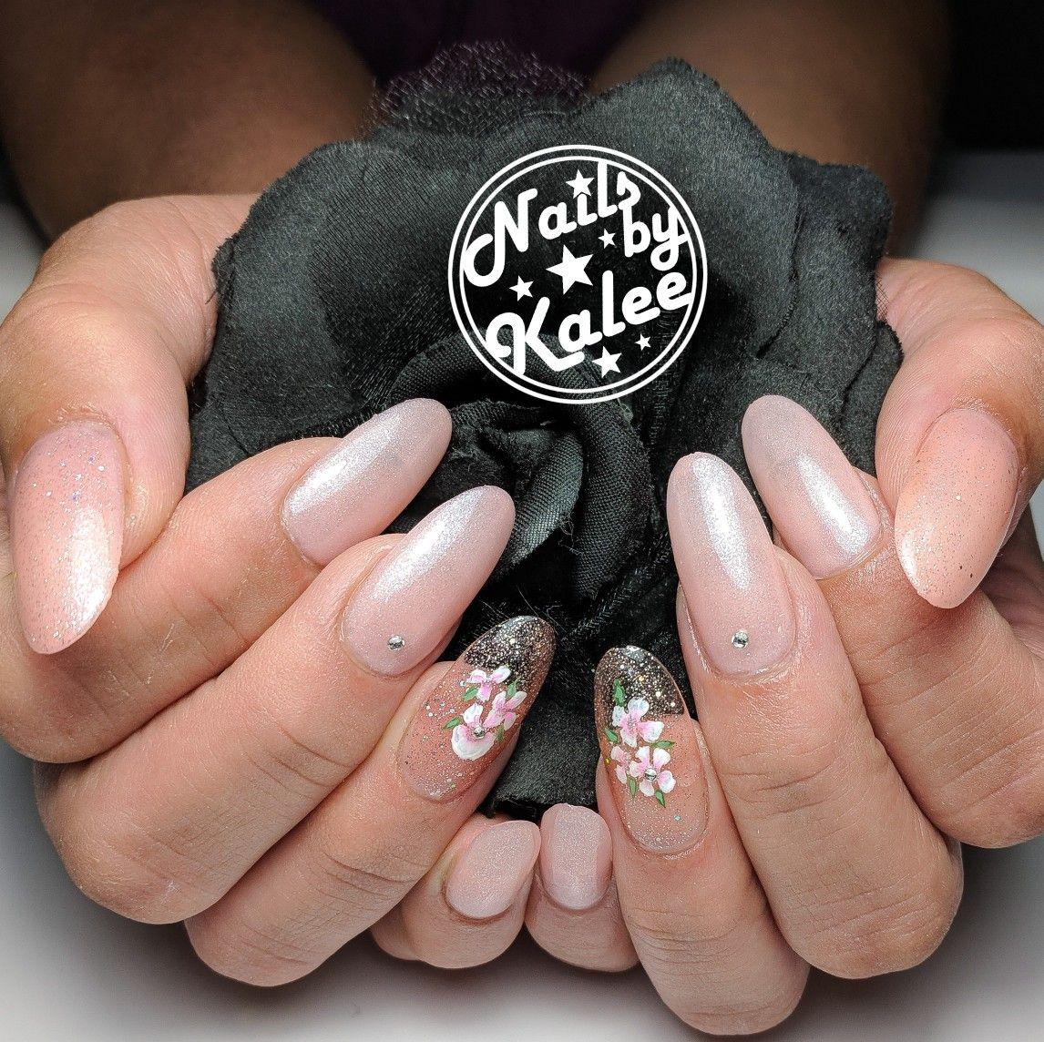 Clear floral accents with baby pink nails | Nail art ...