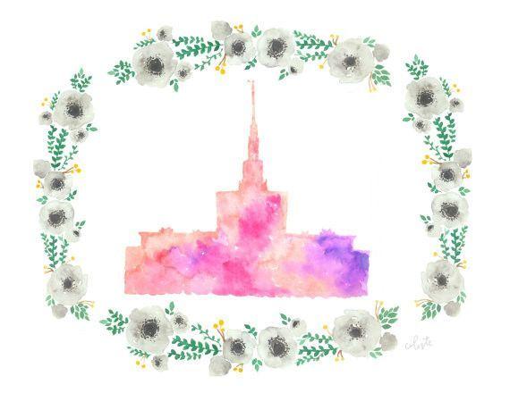 Denver, Colorado LDS temple watercolor print