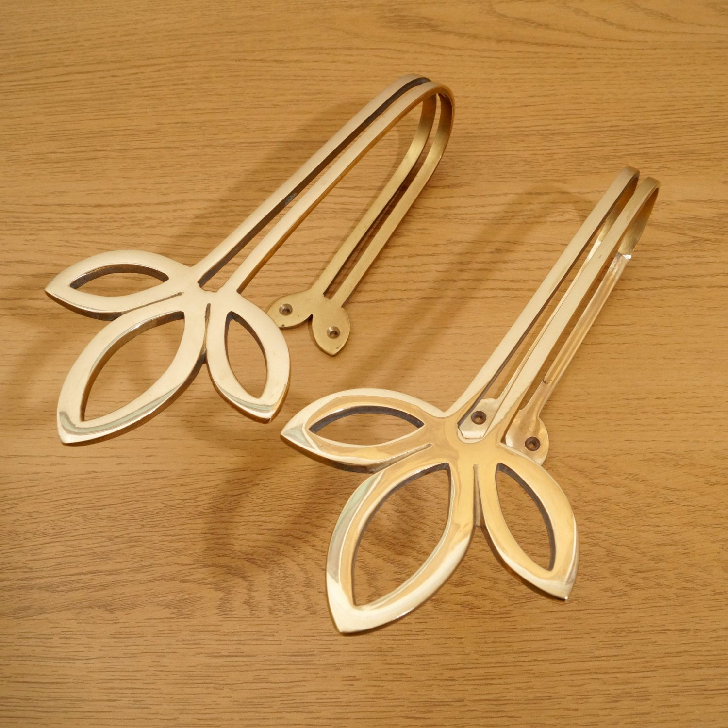 Solid Brass Curtain Hold Back Golden Colour Set Of Two