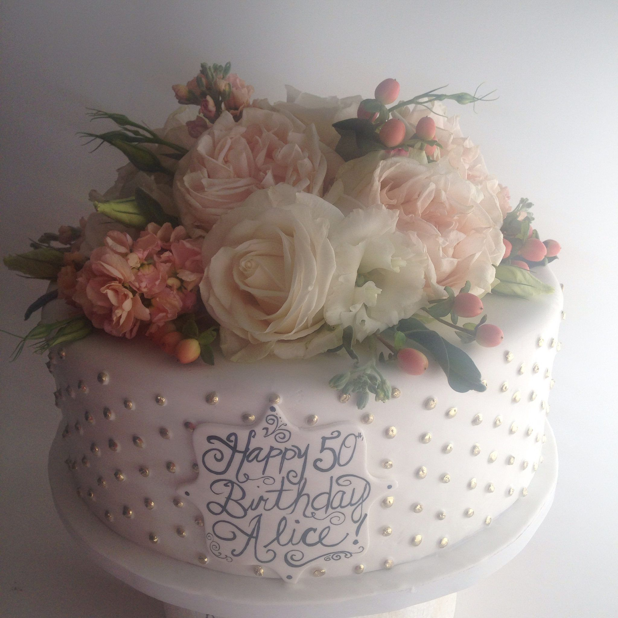 Pleasant 50Th Birthday Cake With Gold Dots And Fresh Flowers 3748 With Funny Birthday Cards Online Inifodamsfinfo