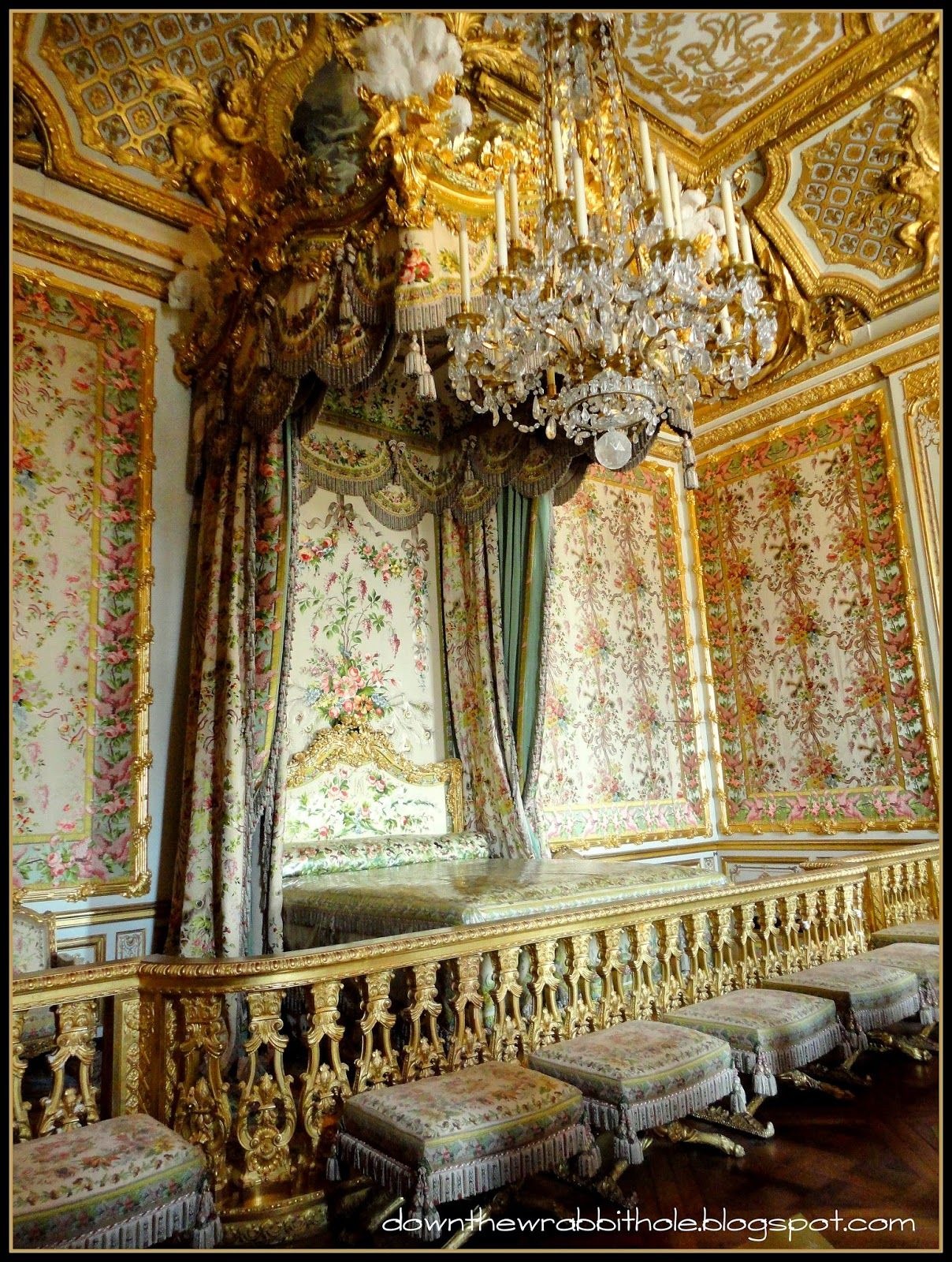"""Marie Antoinette's public bed in the palace of Versailles, Paris.  Find out more at """"Down the Wrabbit Hole - The Travel Bucket List"""". Click the image for the blog post."""